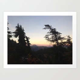 Mountain tree sunset Art Print