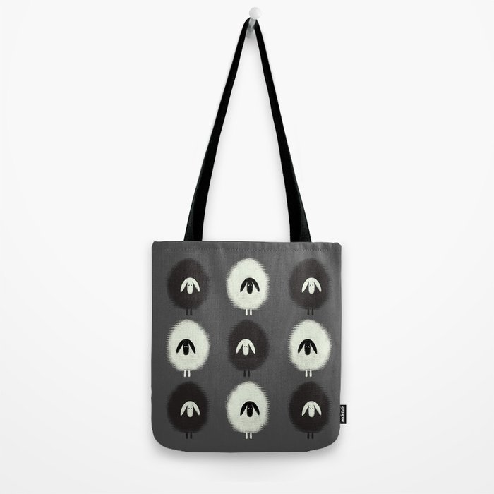 Sheep black & white Tote Bag
