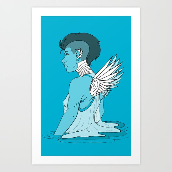Angel Hawk Avenger Art Print