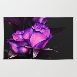 Two neon roses on black Rug