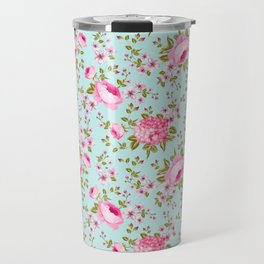 Modern neon pink teal roses hortensia floral Travel Mug