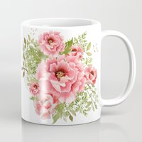 craftberrybush Mugs featuring watercolor bouquet  by craftberrybush