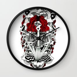 ink illustration psychedelic red head rock'n'roll girl Wall Clock