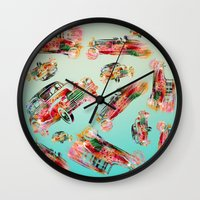 psychadelic Wall Clocks featuring cars  by mark ashkenazi