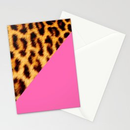 Leopard skin with hot pink II Stationery Cards