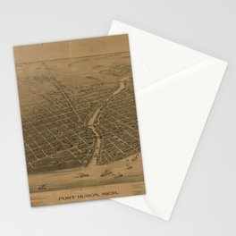 Aerial View of Port Huron, Michigan (1894) Stationery Cards