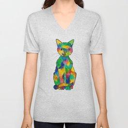 Rainbow Cat Unisex V-Neck