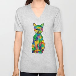 Rainbow Cat Unisex V-Neck