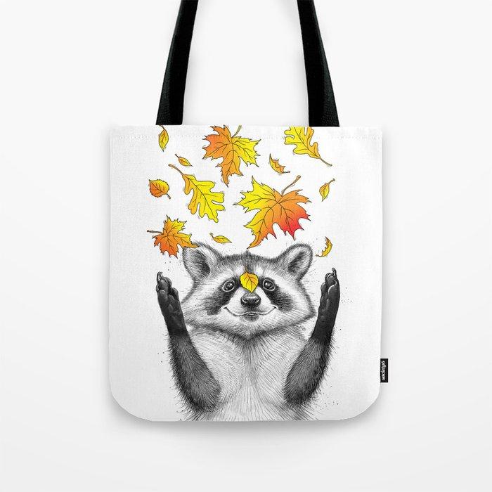 autumn raccoon Tote Bag