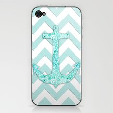 Sail with Me | Glitter nautical anchor, teal blue chevron pattern iPhone & iPod Skin