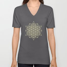 64 Tetrahedrons 2D Sacred Geometry Unisex V-Neck