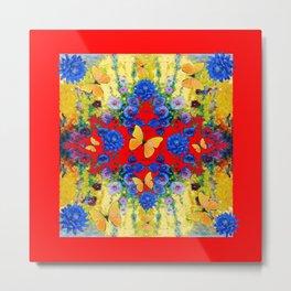 RED GARDEN  BLUE FLOWERS YELLOW BUTTERFLIES Metal Print