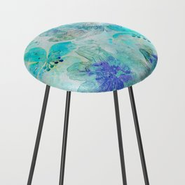 blue turquoise mixed media flower illustration Counter Stool