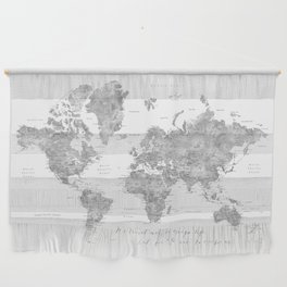 We travel not to escape life grayscale world map Wall Hanging