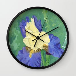 yellow and blue iris Wall Clock