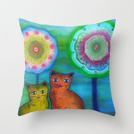 Cats and Trees Throw Pillow