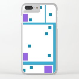 Violet Rectangle with turquoise Lines Clear iPhone Case