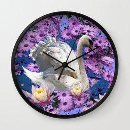 WHITE  SWAN LILAC FLOWERS WATER ART Wall Clock
