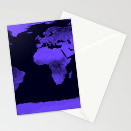 Periwinkle World Map Stationery Cards
