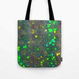 psychedelic abstract art texture background in green yellow black Tote Bag