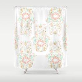 Modern girly pink mint gold Hamsa hand of fatima Shower Curtain