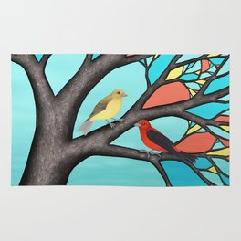 scarlet tanagers in the stained glass tree Rug