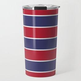 Large Red White and Blue USA Memorial Day Holiday Horizontal Cabana Stripes Travel Mug