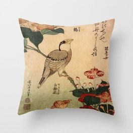 Hokusai,Hawfinch and mirabilis - manga, japan,hokusai,japanese,北斎,ミュージシャン Throw Pillow