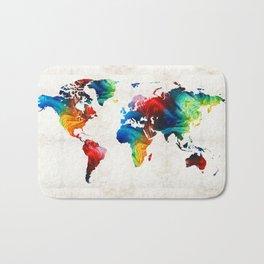 World Map 19 - Colorful Art By Sharon Cumming Bath Mat