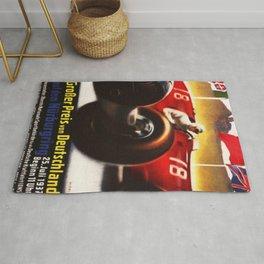 1937 Grand Prix Motor Racing Nurburgring Germany Vintage Advertising Poster Rug