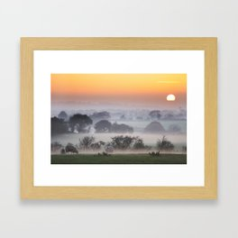 Dusk falls upon the Irish countryside in November Framed Art Print