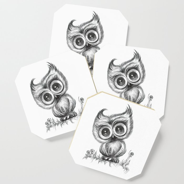 Baby Owl Wall Art Nursery Decor Bird Ilration Animals Coaster By Noramanapova