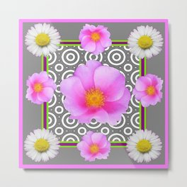Modern Art Style Shasta Daisy Pink Roses  Grey color Abstract art Metal Print