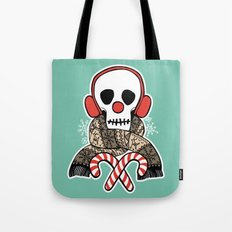 Stay Warm Holiday Skull Tote Bag
