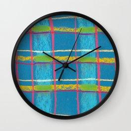 Blue plaid Wall Clock