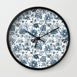 Teal Blue & White Garden Chintz Wall Clock