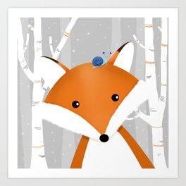 Fox and snail Art Print