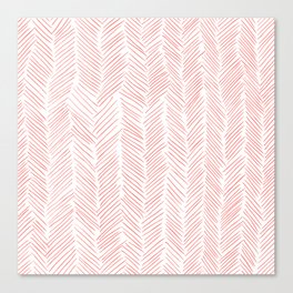 Living Coral Herringbone Canvas Print