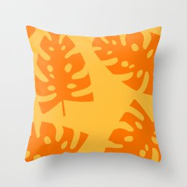 Palm Leaf orange 2 Throw Pillow