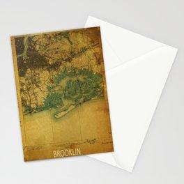 Brooklin 1898 vintage map, usa old vintage maps Stationery Cards