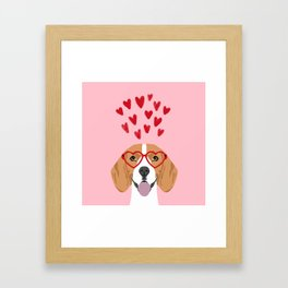 Beagle head love hearts valentines day dog breed must have gifts Framed Art Print