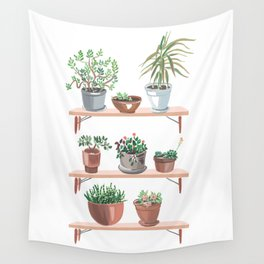 flowerpots on the shelves Wall Tapestry