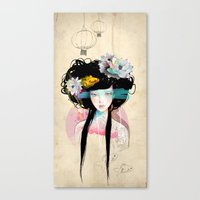 fish Canvas Prints featuring Nenufar Girl by Ariana Perez