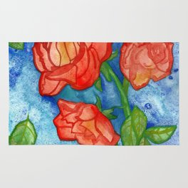 Peachy Colored Roses Rug