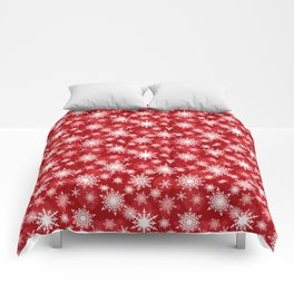 Christmas pattern. Lacy snowflakes on a red background. Comforters