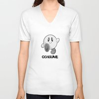 kirby V-neck T-shirts featuring Kirby Consume by Jose Quiroz