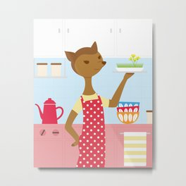 Deer In The Kitchen Metal Print