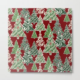 Peppermint Christmas Modern Trees with Mod Scroll Swirl Patterns Metal Print