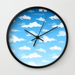 Midday Ombré Sky and Clouds Print Wall Clock