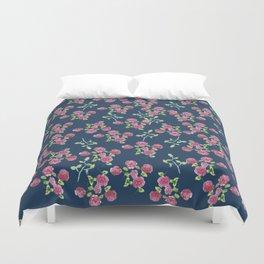 Roses on blue Duvet Cover